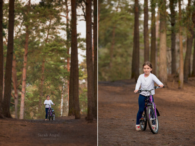 Rosie on her Bike with Surrey Family Photographer Sarah Angel