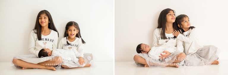 Viyaan and his big sisters with their Fanham Family Photographer Sarah Angel Photography