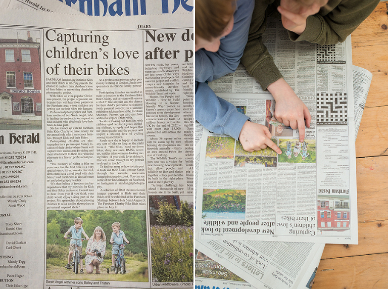 Bailey and Tristan pictured here in the Farnham Herald promoting Surrey family photogrpher project 'Kids and their Bikes'.