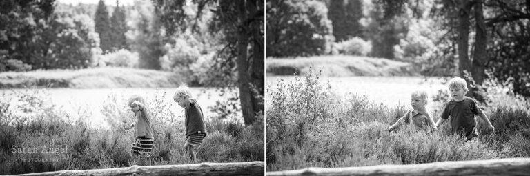 Black and white shots of the boys summer family photo shoot in Frensham Surrey